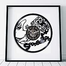 Kovides Spongebob Vs Patrick Clock Lp Retro Vinyl Record Wall Clock Large Cartoon Art Handmade Art Spongebob Squarepants Gift Children Room Art Birthday Gift Idea for Kids Wall Clock Vintage