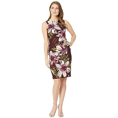 Calvin Klein Floral Print Sheath Dress CD8C81JT (Aubergine Multi) Women