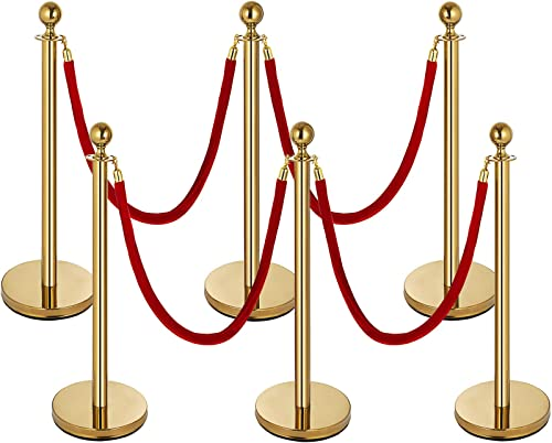 2021 Mophorn 6PCS Gold Stanchion Post, 4 Red Velvet Ropes Queue high quality Rope Barriers, 38In Crowd Control Barrier online sale Queue Line, Crowd Control Poles, for The Ceremony, Museums outlet sale