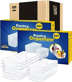 KICHLY Lot de 16 bacs de rangement transparents de qualité supérieure (8 grands et 8 petits) pour cuisine, garde-manger, a...