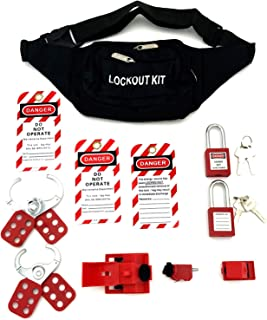 Lockout Tagout Kit - Clamp-On Circuit Breaker Lockout, Group Lockout Hasps, Lockout Tag, Universal Multi- Pole Breaker with Pocket Bag