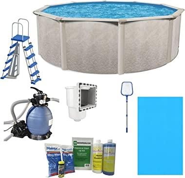 Cornelius Aquarian Phoenix 15ft x 52in Above Ground Swimming Pool, Pump and Ladder Set with Sand Filter Pump, Pool Liner, Ski