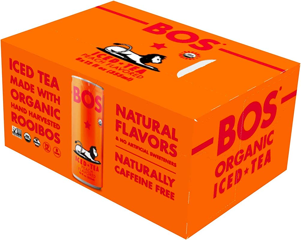 BOS Organic Iced Tea Naturally Caffeine Free And Antioxidant Rich Made With Rooibos Peach 8 Pack