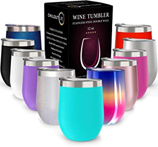 CHILLOUT LIFE 12 oz Stainless Steel Tumbler with Lid & Gift Box | Wine Tumbler Double..