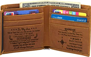 Engraved Wallet for Men Custom Personalized Gifts to Dad Husband Boyfriend Son (Tri-fold wallet to my son)