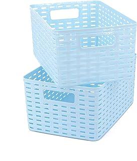 Possidonia Lot de 2 paniers de rangement multi-usage Boîte de rangement en plastique Motif rotin 29 x 19,5 x 13 cm 6 l (29...