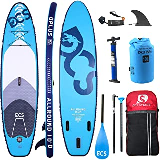 DCS Inflatable SUP Paddle Board Inflatable Stand Up Paddle Board with 100% Full Carbon Fiber Adjustable Paddle , Double Action Pump,10'6
