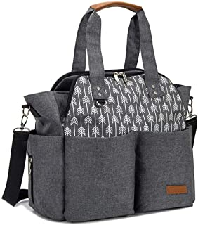 Lekebaby Nappy Changing Bag Large Diaper Tote Bag Convertible Baby Bag for Mom and Dad with Changing Mat and Insulated Poc...