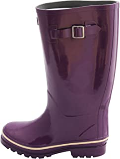 Jileon Wide Calf All Weather Durable Rubber Rain Boots for Women-Fits Calf Sizes Up