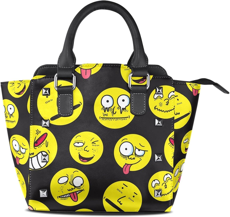 My Little Nest Women's Top Handle Satchel Handbag Funny Cartoon Emojis Expressions Black Ladies PU Leather Shoulder Bag Crossbody Bag