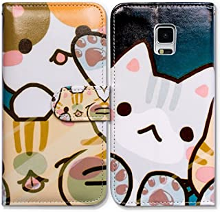 Galaxy S5 Case,Bcov Cartoon White Cat Card Slot Wallet Leather Cover Case for Samsung Galaxy S5