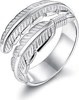 BESTEEL Anello in Argento Sterling 925 per Le Donne Ragazza Fidanzamento Matrimonio Veretta Anello Vintage Piuma Ali d'Ang...