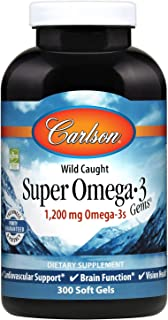 Carlson - Super Omega-3 Gems, 1200 mg Omega-3 Fatty Acids with EPA and DHA, Wild-Caught Norwegian Fish Oil Supplement, Sustainably Sourced Fish Oil Capsules, Omega 3 Supplements, 300 Softgels