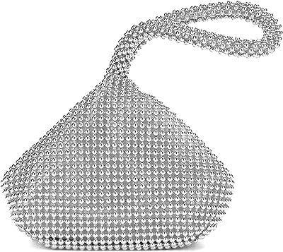 GFM® Damen die kleine weiche körpertasche aus aluminiumperlen. (BP-1) (BP-CH-11-Silber)