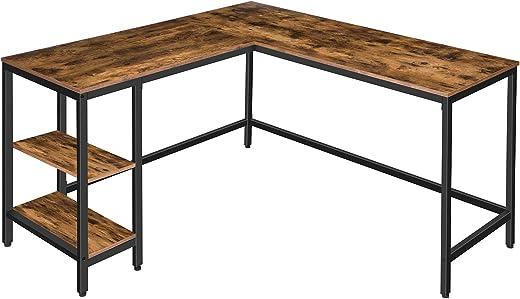 HOOBRO Eckschreibtisch, Schreibtisch mit 2 Ablagen, L-förmiger Computertisch, Stabiler Metallrahmen, platzsparender, PC Bürotisch, Industriestil,…