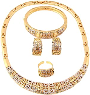 18 K Gold Plated Luxury Statement Bridal Jewelry Set Necklaces Bracelets Earrings Ring Set for Women Beads Jewelry Sets