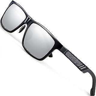 ATTCL - Hombre polarizado gafas de sol Al-Mg marco de Metal Ultra Light 6560blacksilver