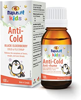 MapleLife Anti-Cold for Kids to Relief the Symptoms of Fever, Coughs and Sore Throats, 375mg of European Elderberry 4:1 Ex...