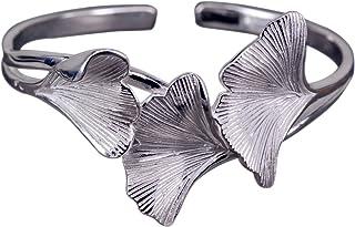 NicoWerk zilveren armband Ginkgo-blad Ginko natuur breed mat gladde armband 925 dames sieraden cadeau Sterling SAR117
