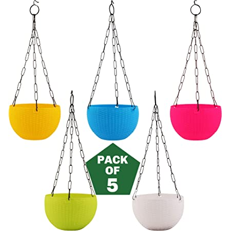 Leafy Tales Cane Basket, Plastic Hanging Pot, Multicolour, 17 x 12 x 32 cm, 5 Pieces