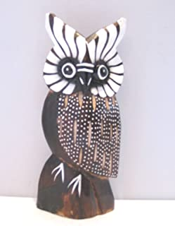 Wooden Owl Hand Carved and Hand Painted Wood Bali Home Decor Sculpture #2005