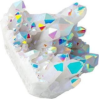 SUNYIK Angel Aura Quartz Titanium Coated Crystal Cluster Specimen,Druzy Geode Flame Aura Gemstone(0.6-0.7lb)