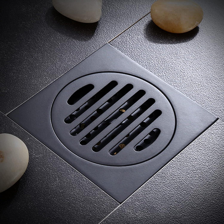 ZCFXGHH Desagüe de Ducha Cuadrado, Desodorante de desagüe de Piso de latón Negro 100x100 mm Desagüe de Ducha Lineal antiolor Cuadrado Desagüe de Ducha de balcón de baño Colector de Pelo,A1