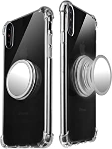 Freysite iPhone X/Xs Case with 360° Rotating Round Stand, Compatible with Magnetic Car Anti-Fingerprint Drop-Proof TPU Slim Case for iPhone X/Xs (Transparent)