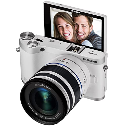 """Samsung NX300M 20.3MP CMOS Smart WiFi & NFC Mirrorless Digital Camera with 18-55mm Lens and 3.3"""" AMOLED Touch Screen (White)"""