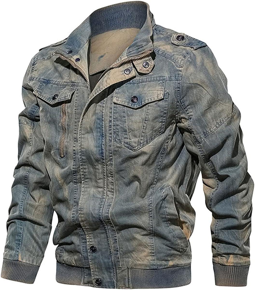 Retro Military Denim Jacket Men's Washed Bomber Jacket Slim Jeans Jacket