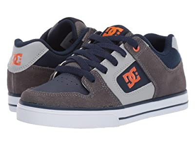DC Kids Pure (Little Kid/Big Kid) (Grey/Dark Navy) Boys Shoes
