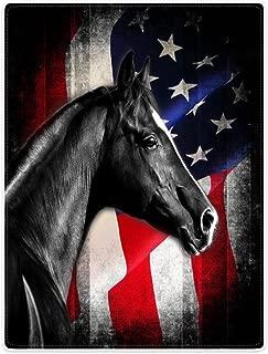 TSlook Throw Blankets Fleece Blanket for Sofa Bed Black Horse Retro American Flag Knight 60