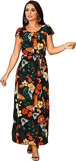 Vestido Longo Estampado Detalhe Cinto e Alça Ajustável - V0238