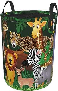 ZOMOY Grand Organiser Paniers pour Vêtements Stockage,Zoo Exotic Jungle Joyeux Impression Amusante,Panier à Linge en Tissu...