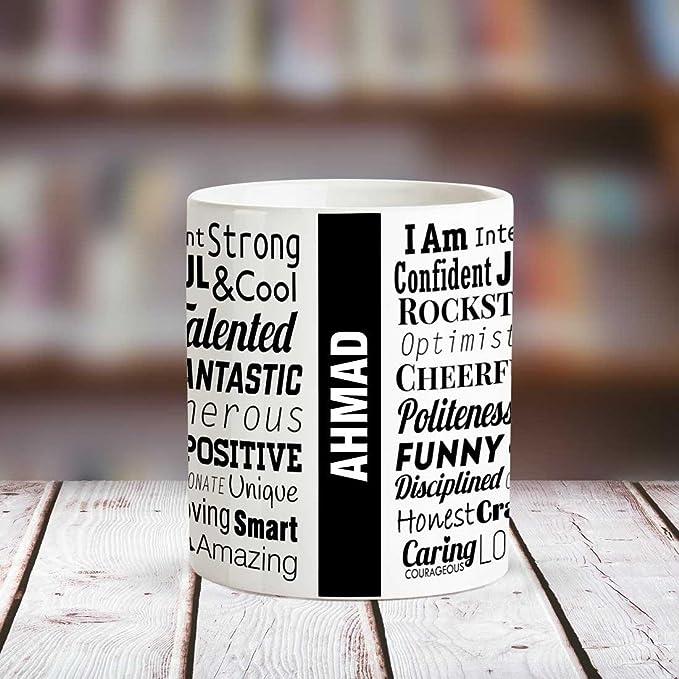Huppme Ahmad Good Personality White Ceramic Coffee Name Mug