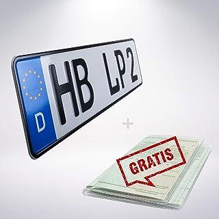 1 Stück KFZ Kennzeichen 42cm x 11cm Nummernschild 420mm x 110mm Wunschkennzeichen DIN zertifiziert Autokennzeichen auch für Fahrradträger Anhänger LKW Wunschprägung amtliches Kennzeichen Autoschild