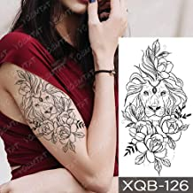 JXAA Etiqueta engomada del Tatuaje a Prueba de Agua Wolf Tree Rose Moon Tattoo Fox Clock Flower Body Art Manga del Brazo Mujeres Hombres 03-XQB126