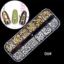 Niome 3D Nail Art Decals DIY Nails Decoration Tips Charms Accessories for Nails Golden Silver Rivet 06#