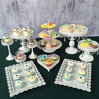 SHZICMY Lot de 9 présentoirs à gâteaux de mariage Blanc
