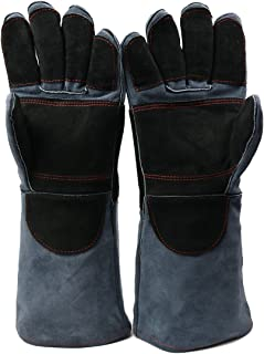Arc Welding Gloves, DOURR Forging Gloves Heat & Fire Resistant mittens for Mig/Tig Welders/Oven/Grill/Fireplace/Hot Pan/Stove/BBQ/welders Gloves 16 inch (Black Gray)