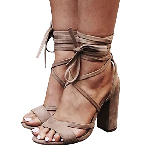 223e16fc63a Bbalizko Womens Lace Up Faux Suede High Heeled Strappy Sandals Shoes