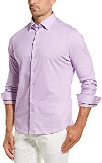Stone Rose Men's Cotton Knit Geometric Print Long Sleeve Shirt