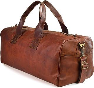 """Nama Columbus"""" Weekender XL Reisetasche 60 cm 45 Liter Echtes Leder Vintage Look Sporttasche für Damen und Herren Duffle Bag Umhängetasche Naturleder Braun"""