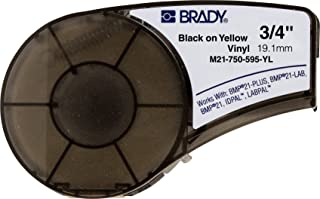 Brady High Adhesion Vinyl Label Tape (M21-750-595-YL) - Black on Yellow Vinyl Film - Compatible with BMP21-PLUS, IDPAL, LABPAL Label Printers - 21' Length, .75