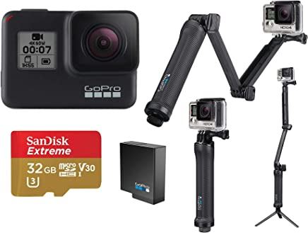 $418 Get GoPro HERO7 Black - Bundle with 3-in-1 Mount, Extra Rechargeable Battery, and 32GB Card