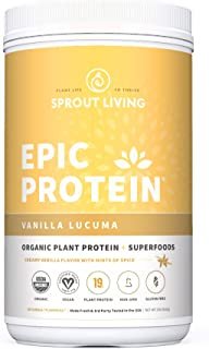Epic Protein, Organic Plant Protein + Superfoods, Vanilla Lucuma | 19 Grams Vegan Protein, Gluten Freee, No Gums, No Flavoring (2 Pound, 26 Servings)