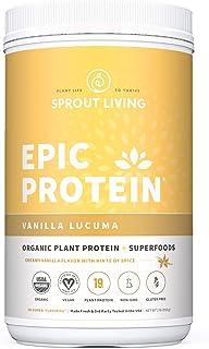 Epic Protein, Organic Plant Protein + Superfoods, Vanilla Lucuma | 19 Grams Vegan Protein, Gluten Free, No Gums, No Flavoring (2 Pound, 26 Servings)