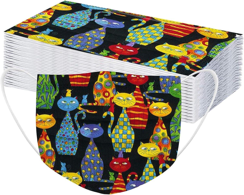 50PCS Adults Disposable_Face_Mask Cute Cat Layer Dustpro 3 Fresno Mall Print Free shipping