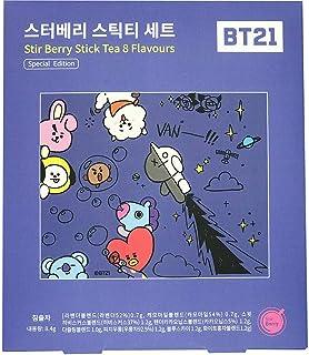 BTS X BT21 Stir Berry Stick Tea Gifts Set 8 flavors upper part bookmark Made in KOREA BTS Special Edition goods BigHit Ent hologram Chimmy Tata Cooky RJ Koya Mang Shooky Van BTS army