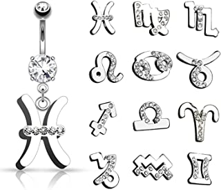 Covet Jewelry Zodiac Symbol with Clear Gems Dangle Navel Ring